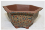 Bonsai Pot, Hexagonal, 13cm, Brown, Unglazed, Motif